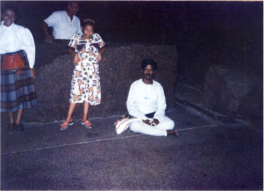 RKS. Muthukrishnan  sitting infront of the coffin or coffer or child delivery box inside the King's chamber in the Great Pyramid